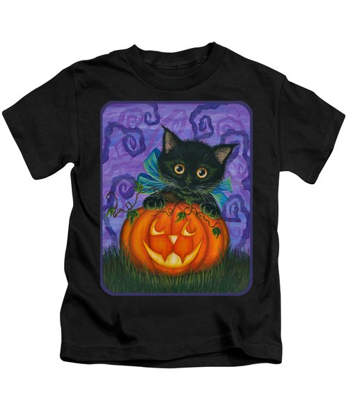 Halloween Black Kitty - Cat And Jackolantern Kids T-Shirt