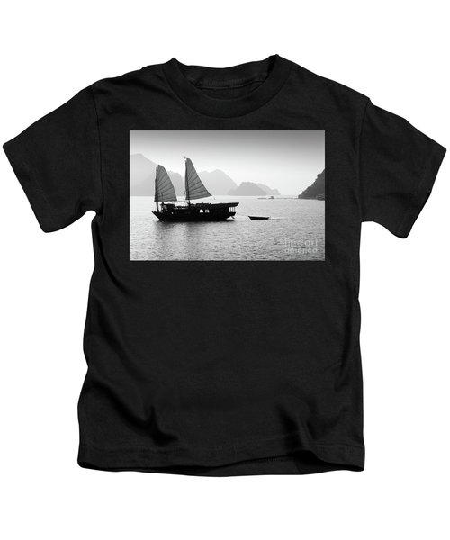 Halong Bay Black And White Kids T-Shirt