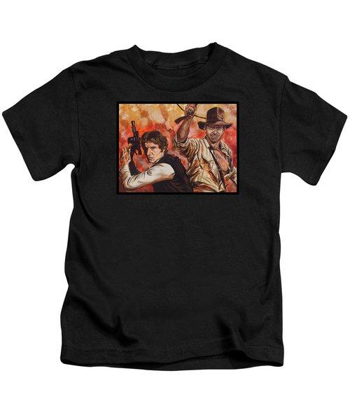 Han Solo And Indiana Jones Kids T-Shirt