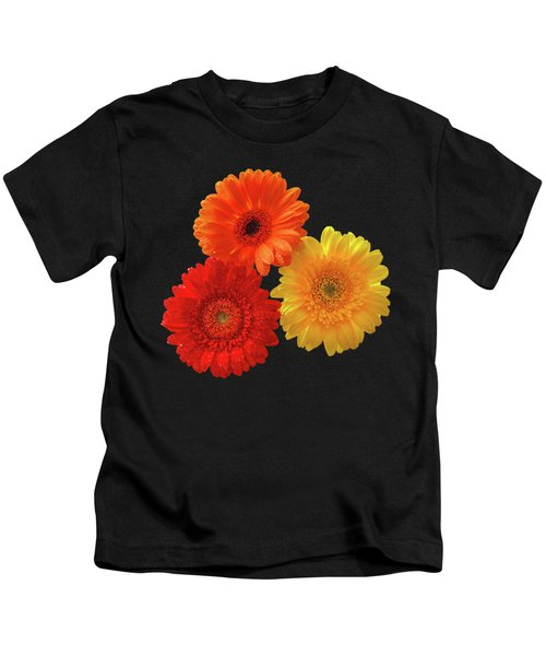 Happiness - Orange Red And Yellow Gerbera On Black Kids T-Shirt by Gill Billington