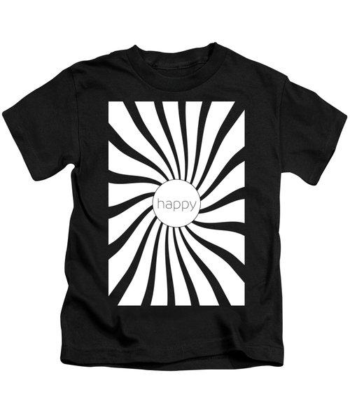 Happy - Black And White Swirl Kids T-Shirt