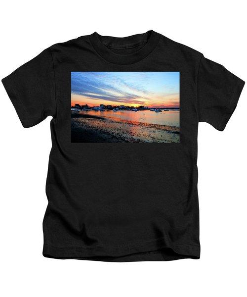 Harbor Sunset At Low Tide Kids T-Shirt