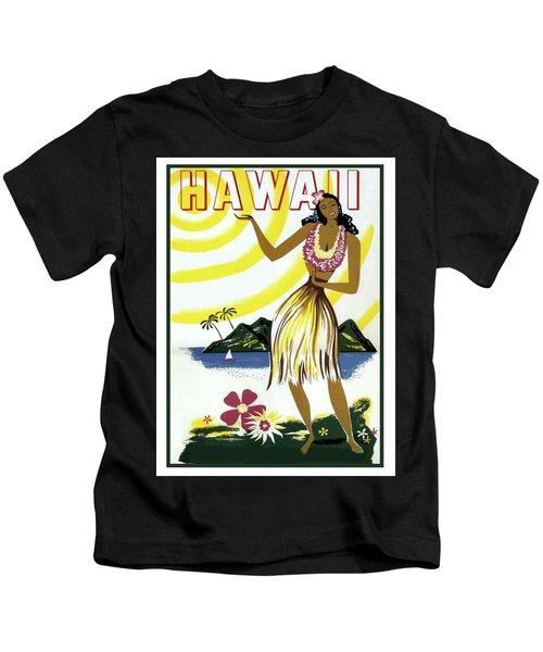 Hawaii, Hula Girl, Tropic Beach, Travel Poster Kids T-Shirt