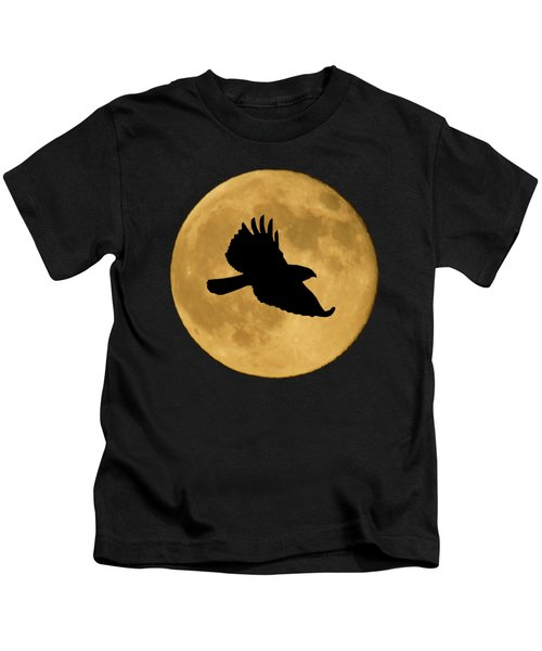 Hawk Flying By Full Moon Kids T-Shirt