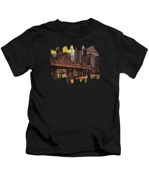 Hawthorne Bridge At Sunset  Kids T-Shirt