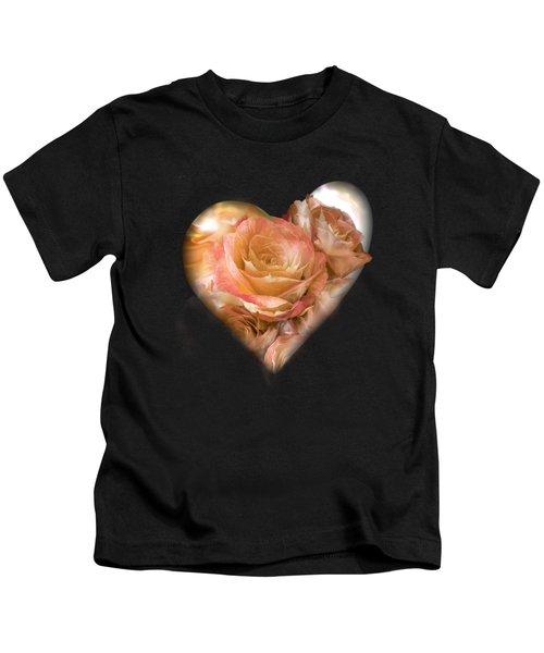 Heart Of A Rose - Gold Bronze Kids T-Shirt
