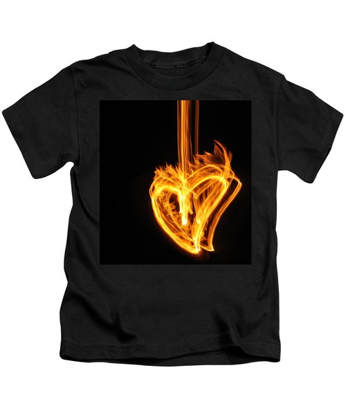 Hearts Aflame -falling In Love Kids T-Shirt