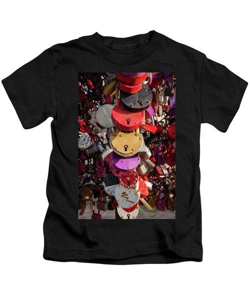Hearts Locked In Love Kids T-Shirt