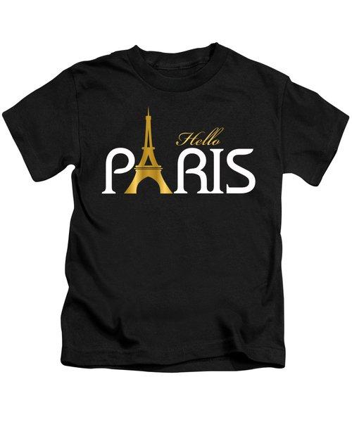 Hello Paris Kids T-Shirt by Carlos Simon