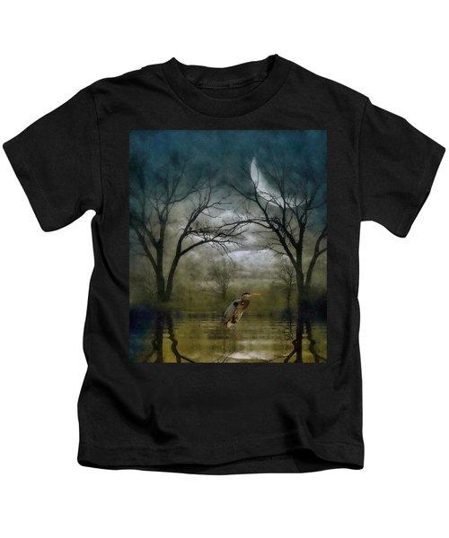 Heron By Moon Glow  Kids T-Shirt