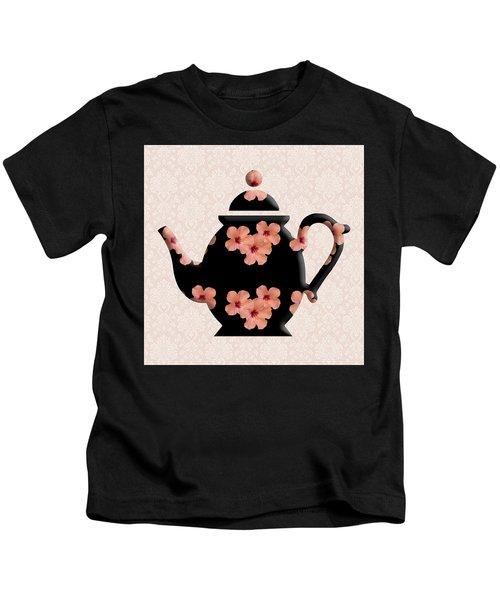 Hibiscus Pattern Teapot Kids T-Shirt