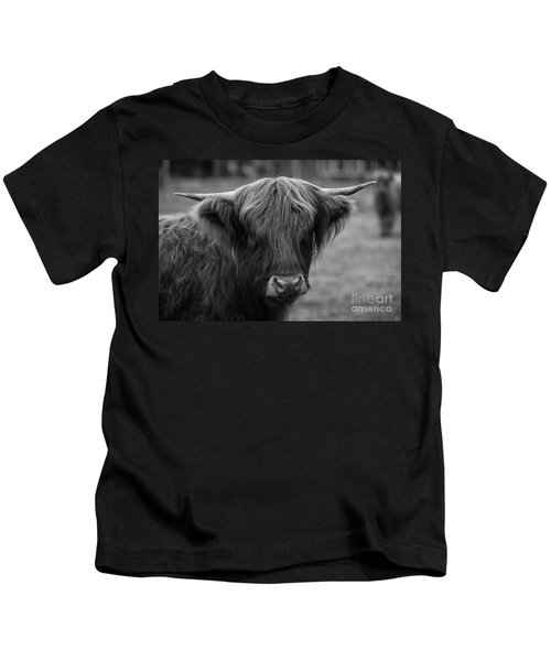 Highland Cow, 2015 - Farm Animal In Black And White Kids T-Shirt