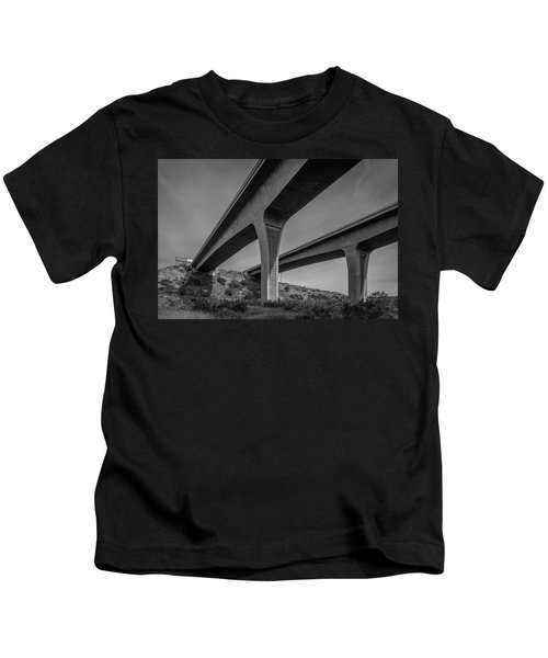 Highway 52 Over Spring Canyon, Black And White Kids T-Shirt