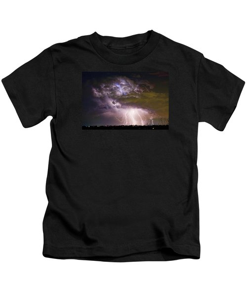 Highway 52 Storm Cell - Two And Half Minutes Lightning Strikes Kids T-Shirt