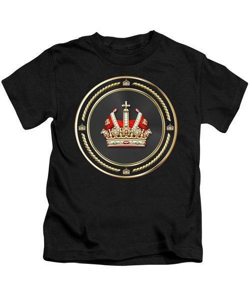 Holy Roman Empire Imperial Crown Over Black Velvet Kids T-Shirt