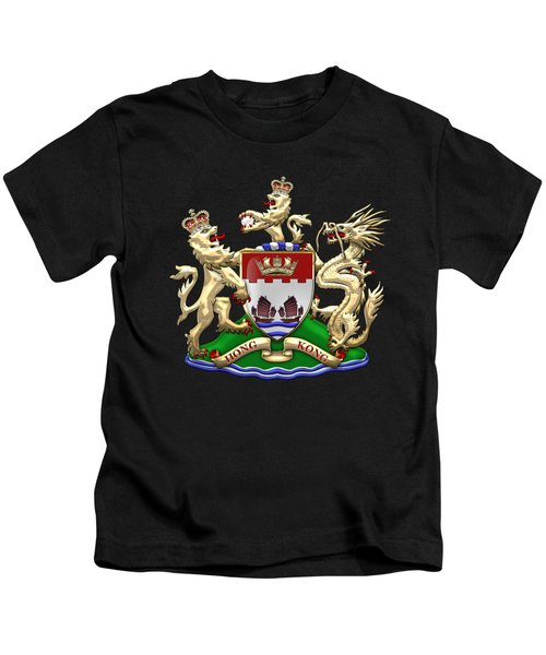 Hong Kong - 1959-1997 Coat Of Arms Over Black Leather  Kids T-Shirt by Serge Averbukh
