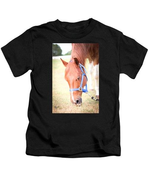 Horse Eating In A Pasture In Vibrant Color Kids T-Shirt