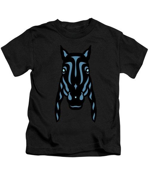 Horse Face Rick - Horse Pop Art - Hazelnut, Niagara Blue, Island Paradise Blue Kids T-Shirt