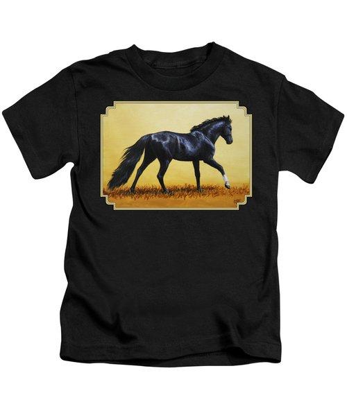 Horse Painting - Black Beauty Kids T-Shirt