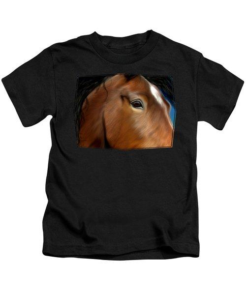 Horse Portrait Close Up Kids T-Shirt