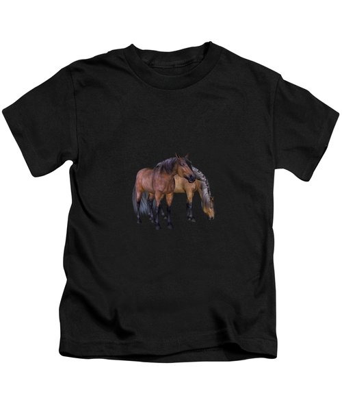Horses In A Misty Dawn Kids T-Shirt