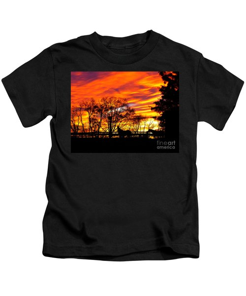 Horses Under A Painted Sky Kids T-Shirt