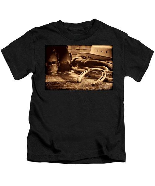 Horseshoe And Cowboy Gear Kids T-Shirt
