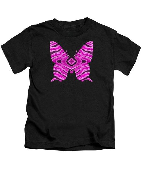 Hot Pink Butterfly Kids T-Shirt