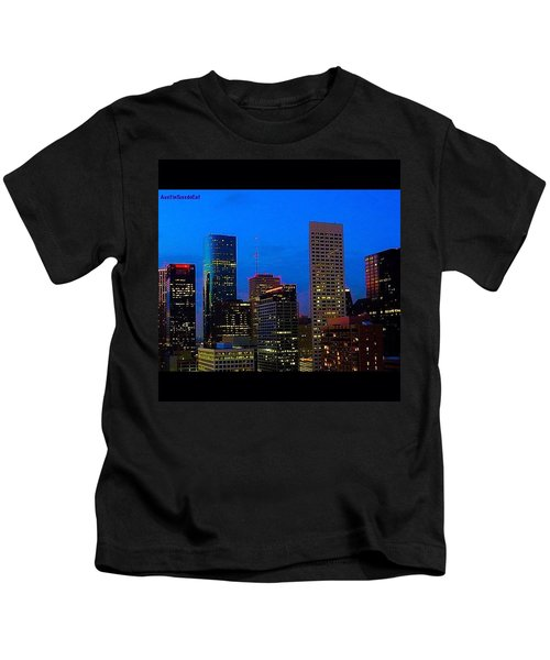 #houston #skyline At #night. #lights Kids T-Shirt