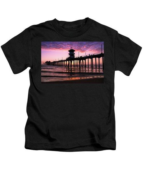 Huntington Pier At Sunset 2 Kids T-Shirt