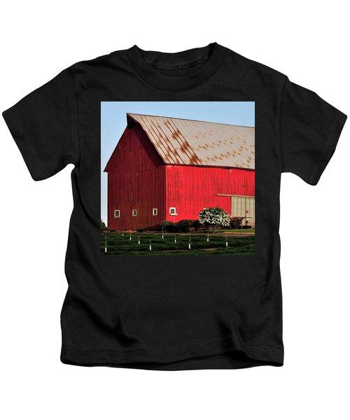 Hwy 47 Red Barn 21x21 Kids T-Shirt