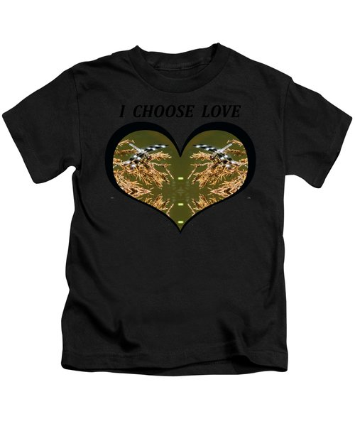 I Choose Love With Black And White Dragonflies On Golden Leave In A Heart Kids T-Shirt