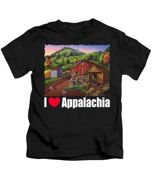 I Love Appalachia T Shirt - Farmers Shucking Corn And Storing In Corncrib 2 - Corn Crib Kids T-Shirt