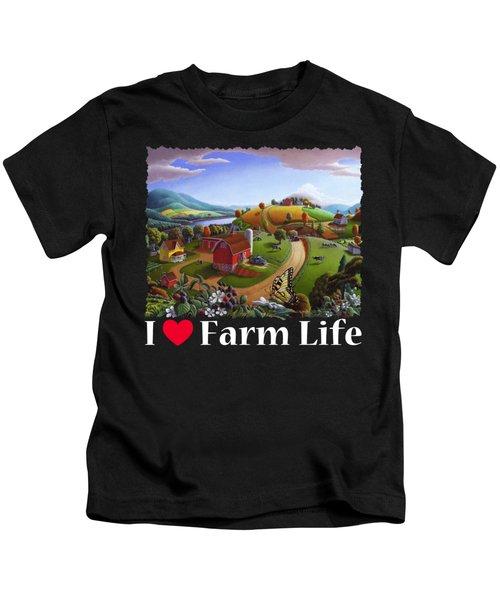 I Love Farm Life T Shirt - Appalachian Blackberry Patch 2 - Rural Farm Landscape Kids T-Shirt