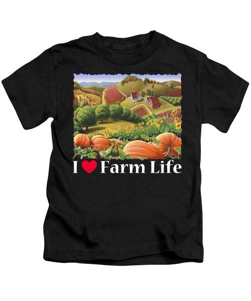 I Love Farm Life T Shirt - Appalachian Pumpkin Patch - Rural Farm Landscape 2 Kids T-Shirt