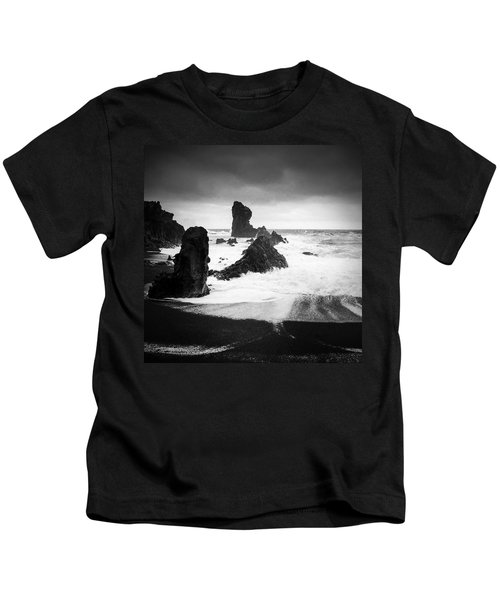 Iceland Dritvik Beach And Cliffs Dramatic Black And White Kids T-Shirt