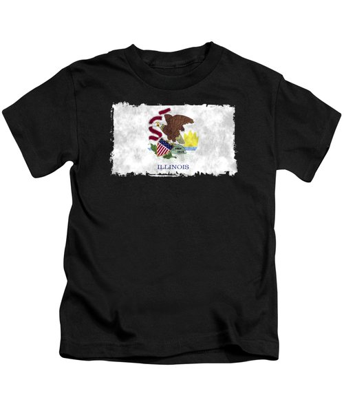 Illinois Flag Kids T-Shirt by World Art Prints And Designs
