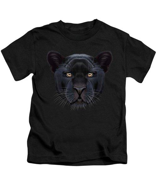 Illustrated Portrait Of Black Panther.  Kids T-Shirt by Altay Savrukov