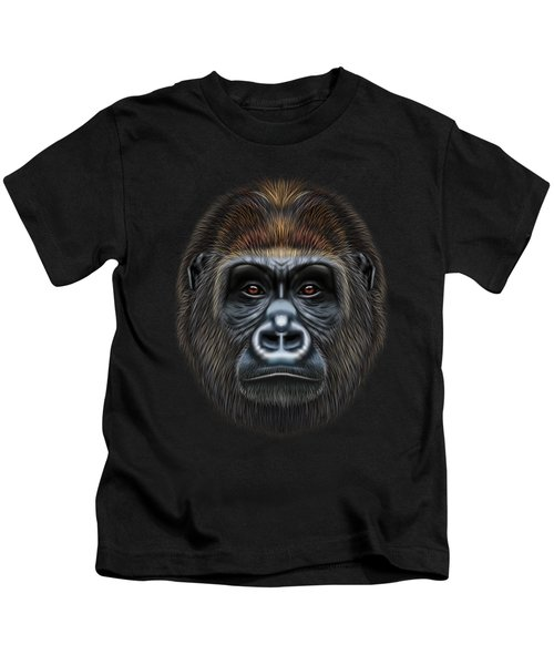 Illustrated Portrait Of Gorilla Male. Kids T-Shirt by Altay Savrukov