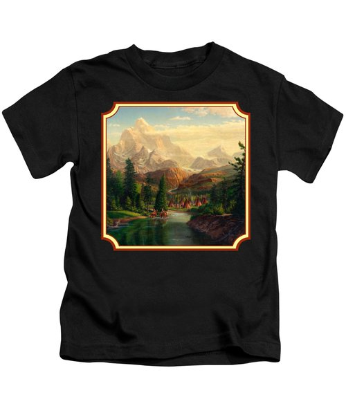 Indian Village Trapper Western Mountain Landscape Oil Painting - Native Americans -square Format Kids T-Shirt
