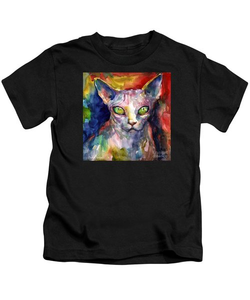 intense watercolor Sphinx cat painting Kids T-Shirt
