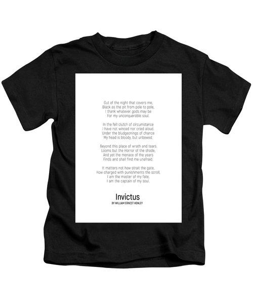 Invictus By William Ernest Henley #minimalist #poem  Kids T-Shirt