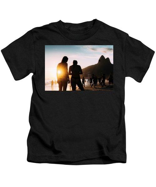 Ipanema, Rio De Janeiro, Brazil At Sunset Kids T-Shirt