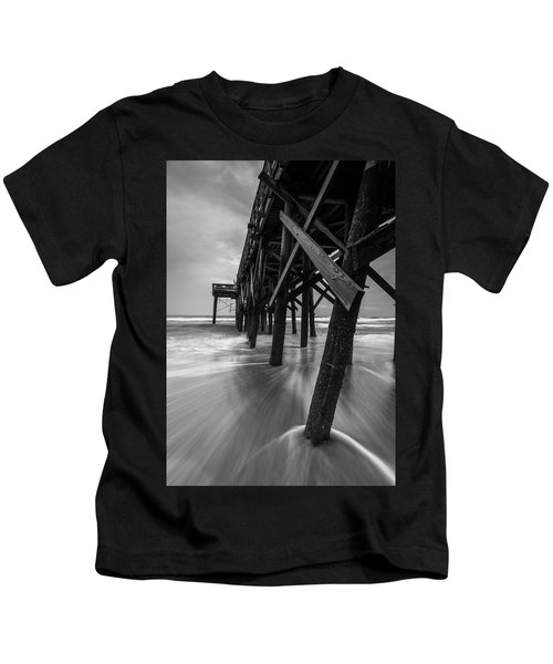Isle Of Palms Pier Water In Motion Kids T-Shirt