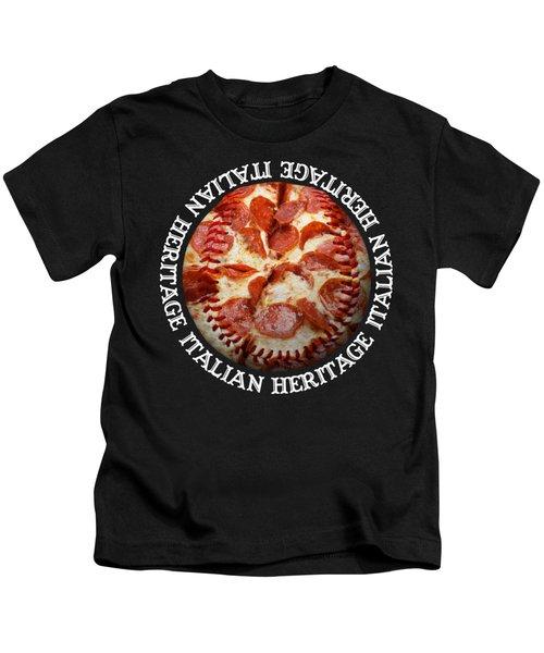 Italian Heritage Baseball Pizza Square Kids T-Shirt