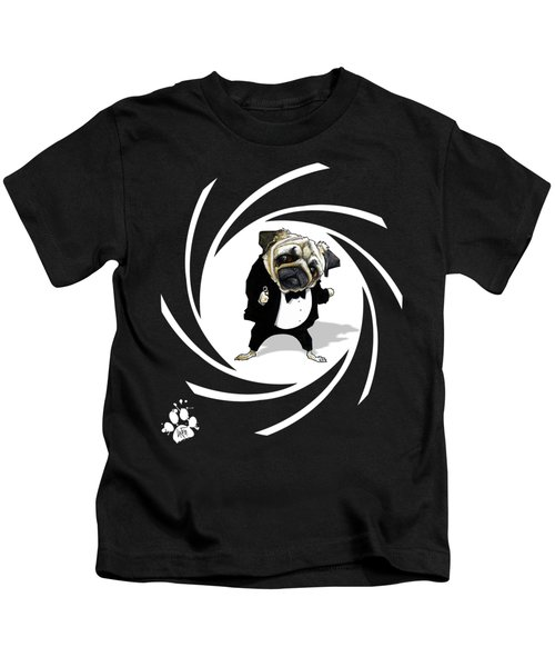 James Bond Pug Caricature Art Print Kids T-Shirt