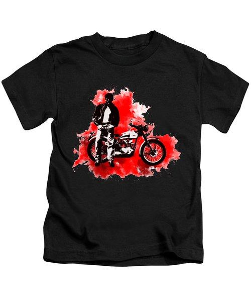 James Dean And Triumph Kids T-Shirt by Marlene Watson