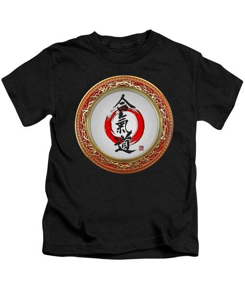 Japanese Calligraphy - Aikido On Black Kids T-Shirt