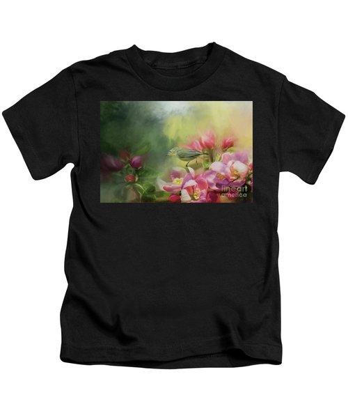 Japanese White-eye On A Blooming Tree Kids T-Shirt