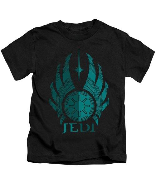 Jedi Symbol - Star Wars Art, Blue Kids T-Shirt
